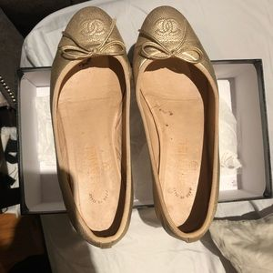 Chanel gold flats size 27